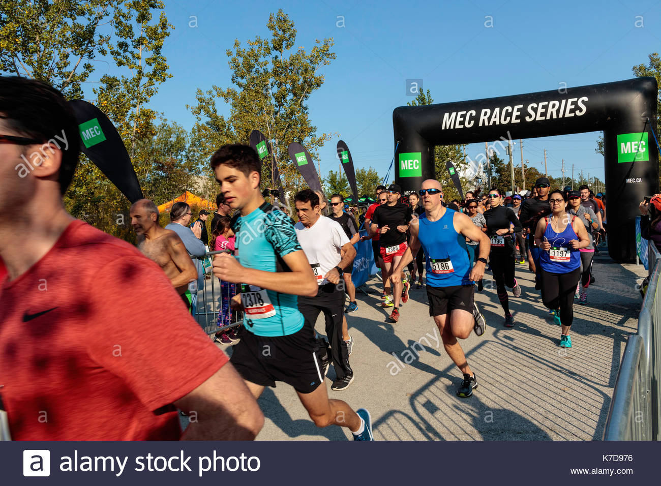Mec Race series runners at start in Tommy Thompson Park In Toronto Ontario Canada - Stock Image