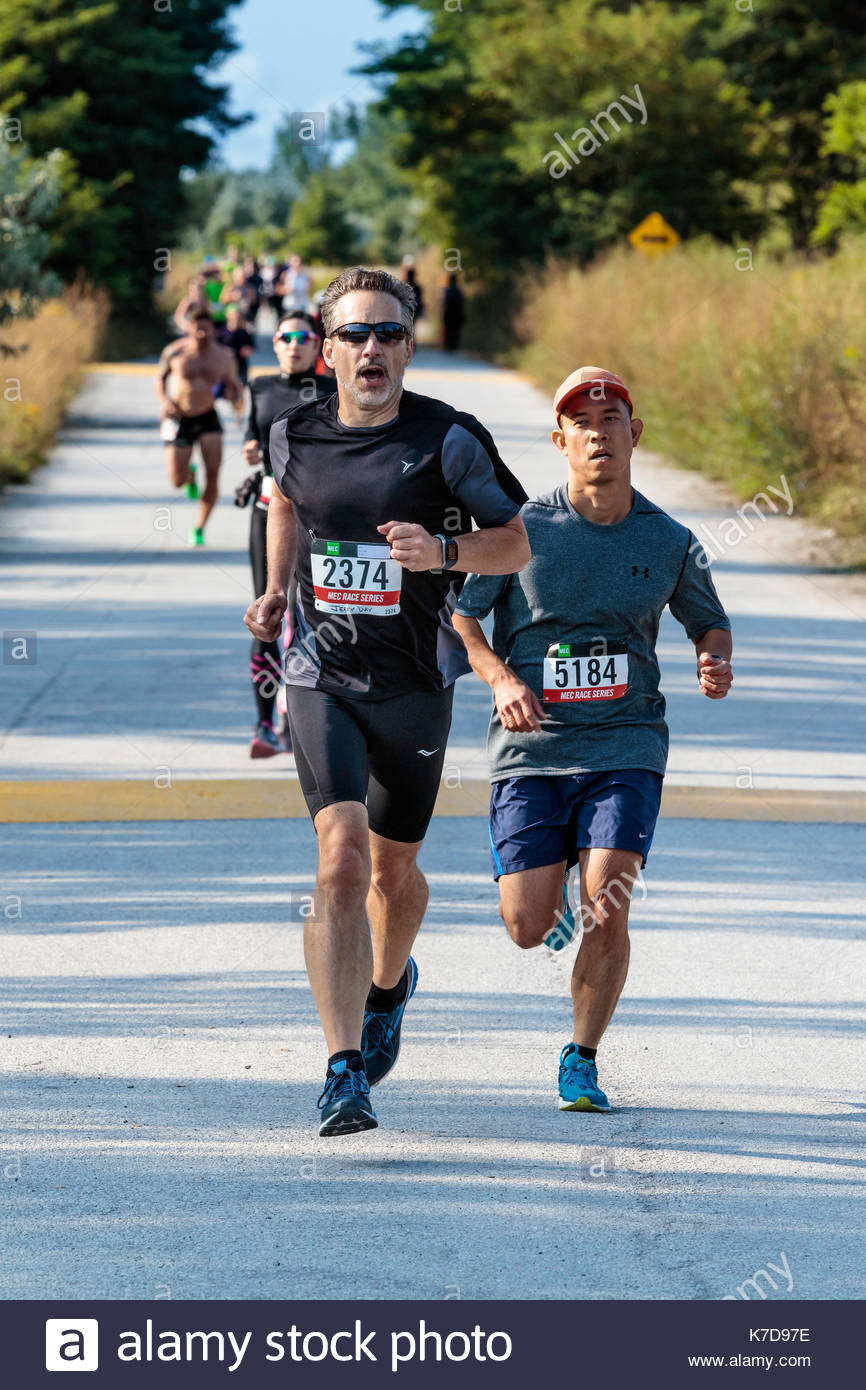 Mec Race series marathon runners in Tommy Thompson Park In Toronto Ontario Canada - Stock Image