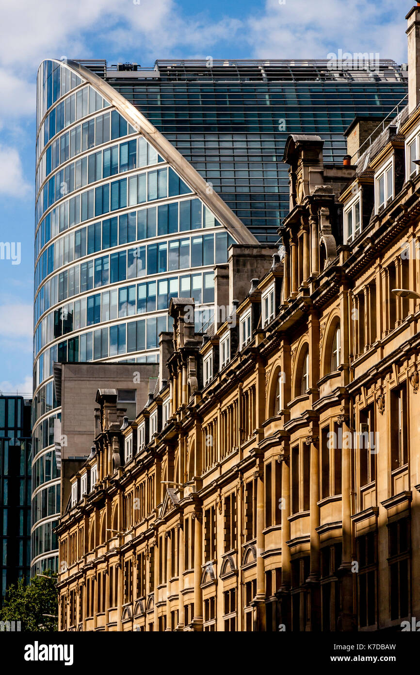 London Wall and Moor House, Moorgate, The City of London, London, UK - Stock Image