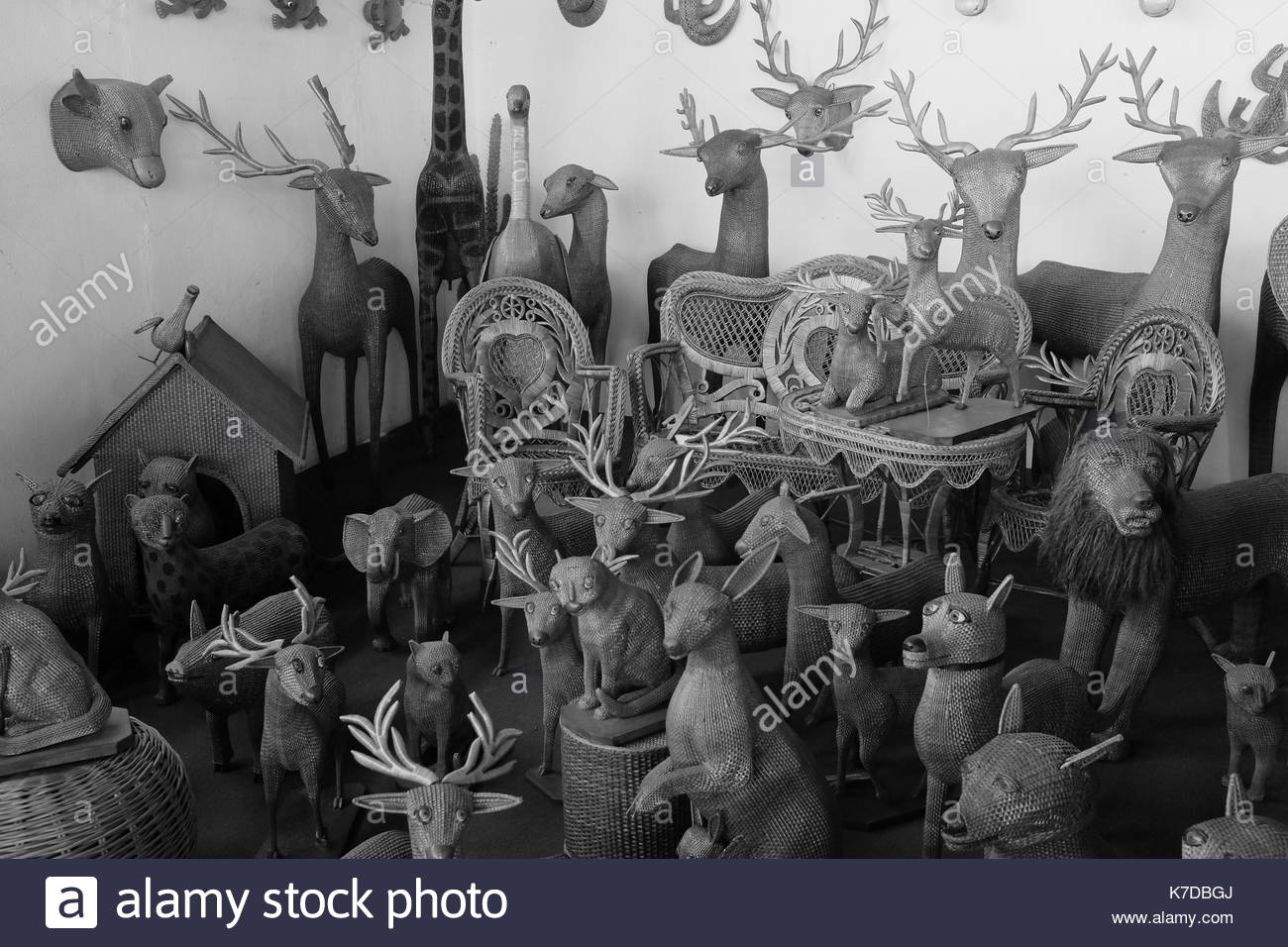 Collection of wicker animals in Camacha, Madeira - Stock Image