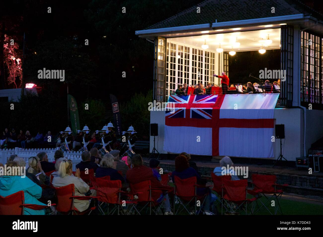 The Band of Her Majesty's Royal Marines HMS Collingwood performing at the Bournemouth bandstand located in the lower gardens - Stock Image