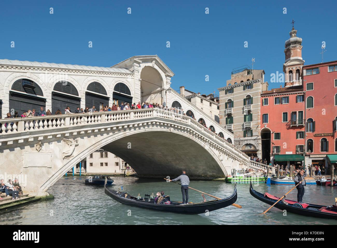Rialto Bridge, Canale Grande, Venice, Venice, Veneto, Italy - Stock Image
