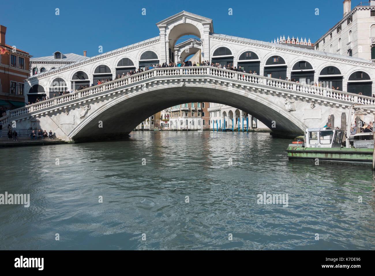 Rialto Bridge, Canal Grande, Venice, Venice, Veneto, Italy - Stock Image