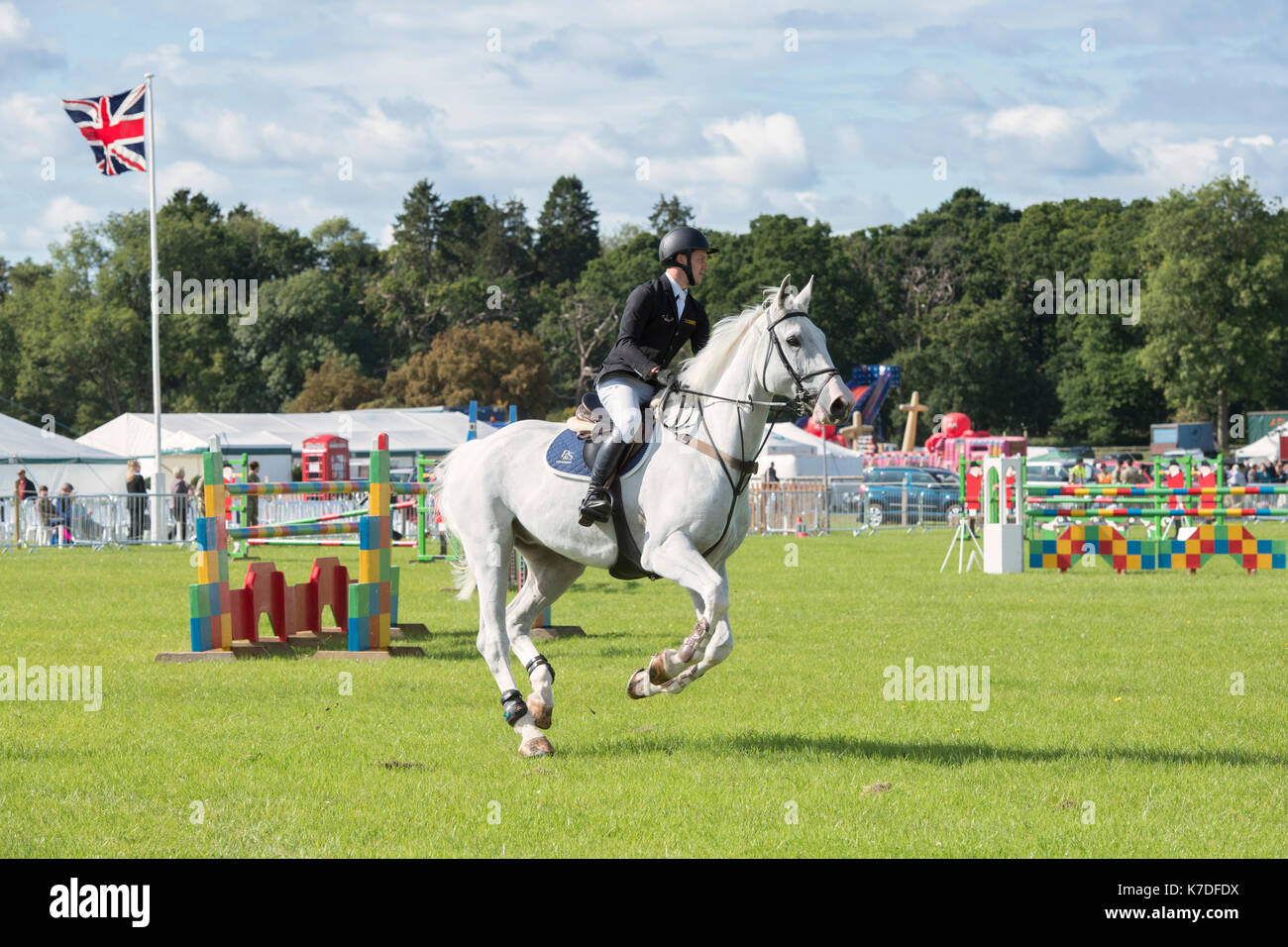 Show jumping at at the Henley country show, Oxfordshire. UK - Stock Image