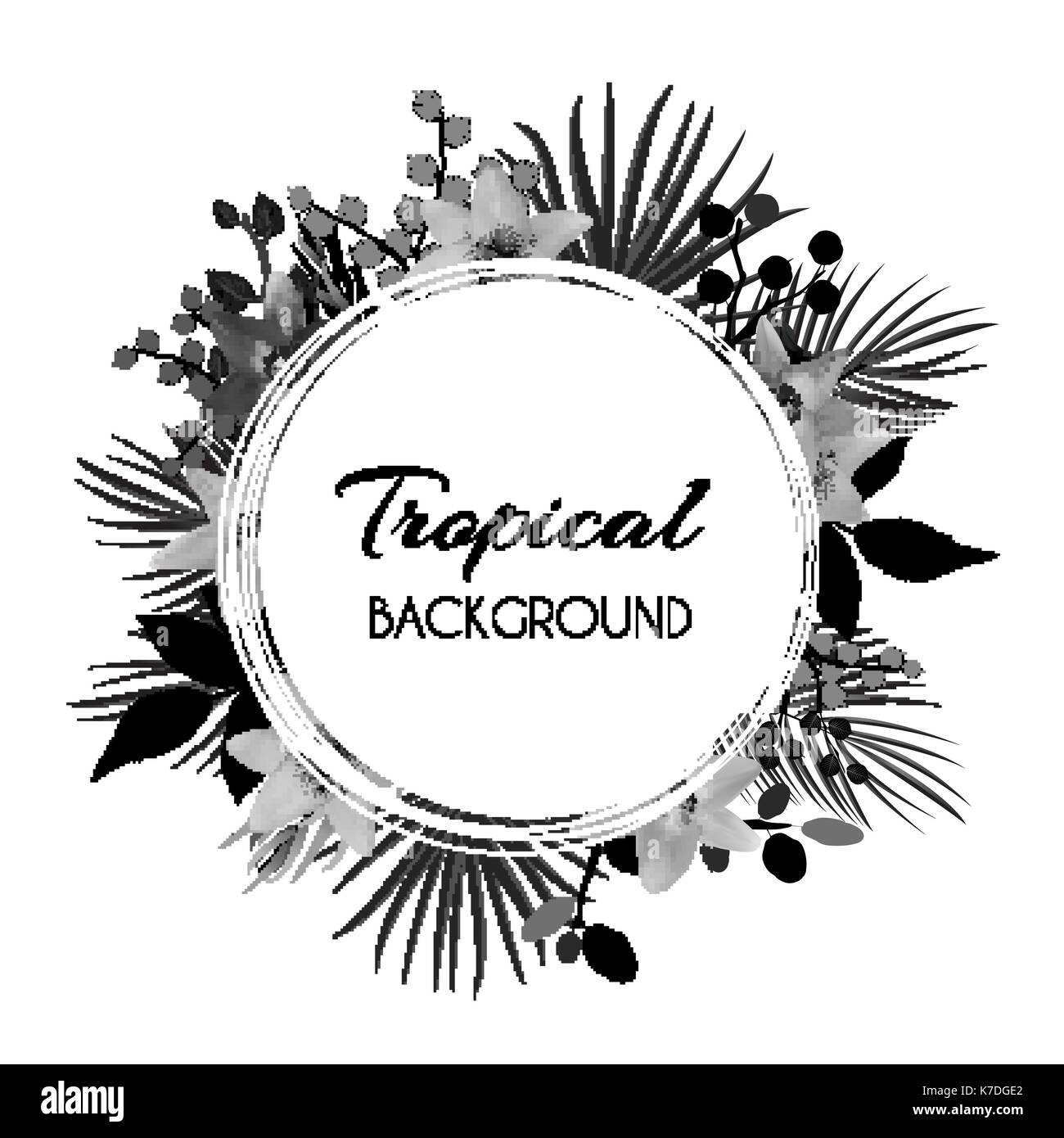 Abstract Natural Tropical Frame Background with Palm and other Leaves and Lily Flowers. Vector Illustration Stock Vector