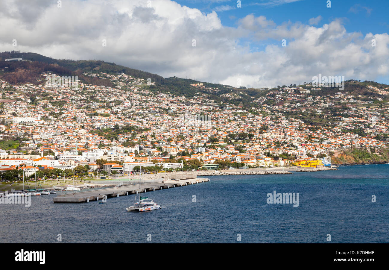 Funchal Waterfront.  The waterfront of Funchal on the Portuguese island of Madeira. - Stock Image