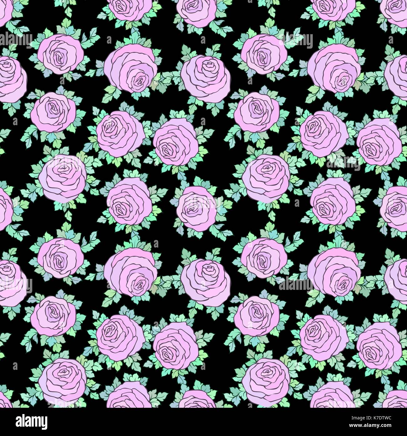 Floral Decorative Bright Wallpaper With Cute Roses Seamless Pattern Stock Vector Image Art Alamy