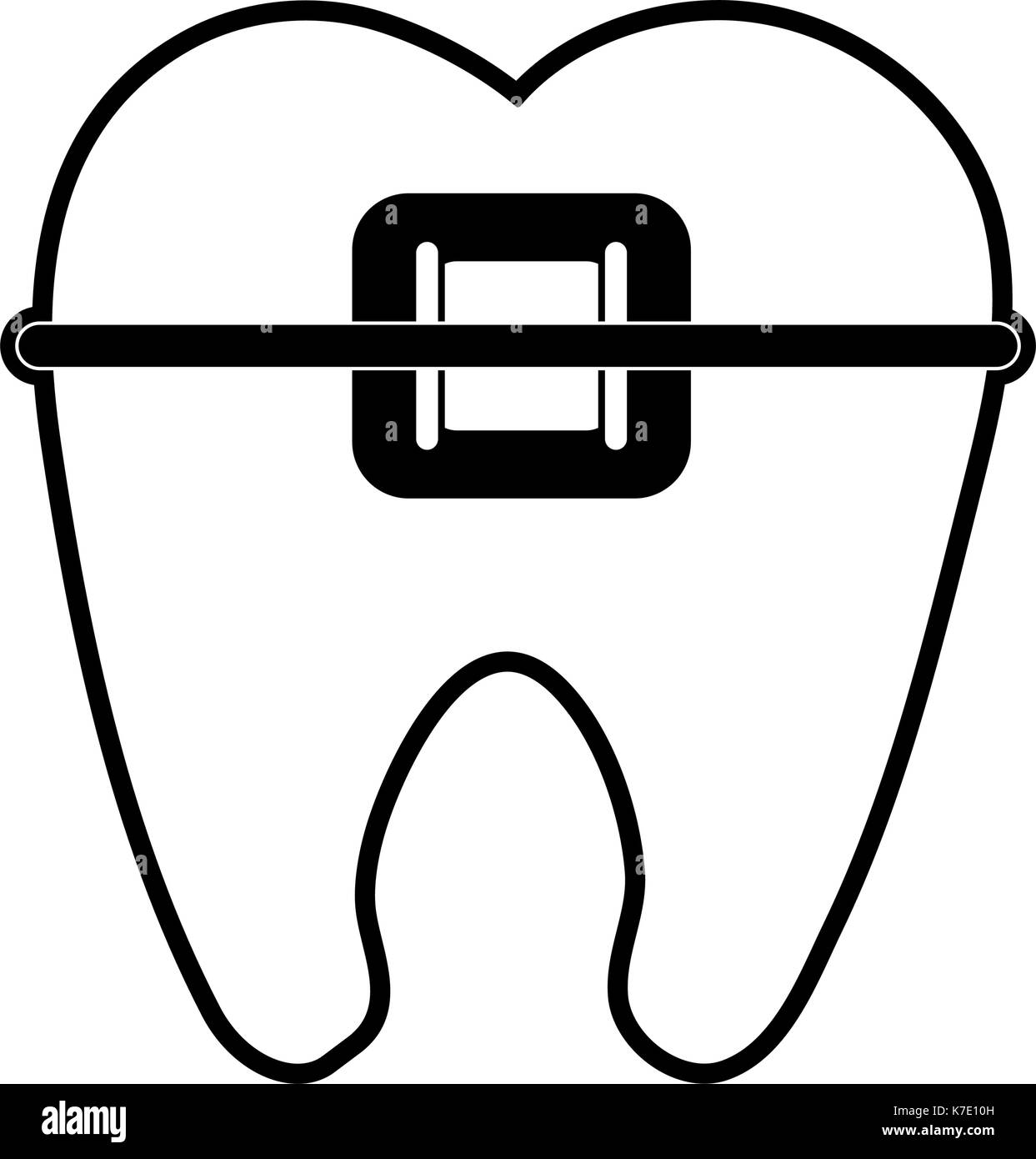 molar with braces dentistry icon image  - Stock Image