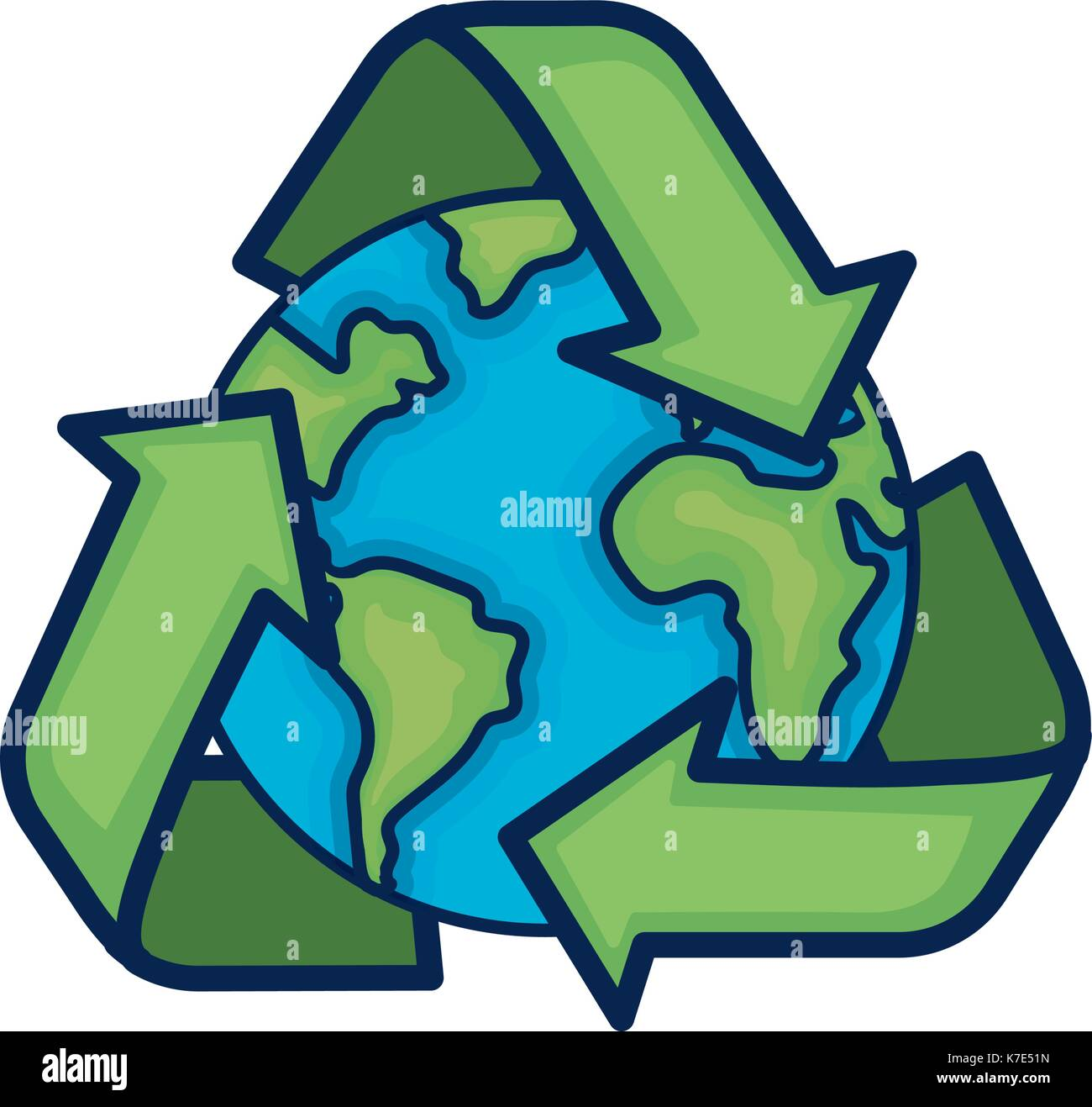 Earth Planet With Recycle Symbol Design Stock Vector Art