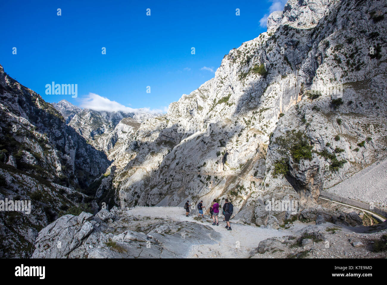 Ruta del Cares. Asturias. Picos de Europa. It is a narrow trail built alongside the river Cares surrounded by beautiful mountains - Stock Image
