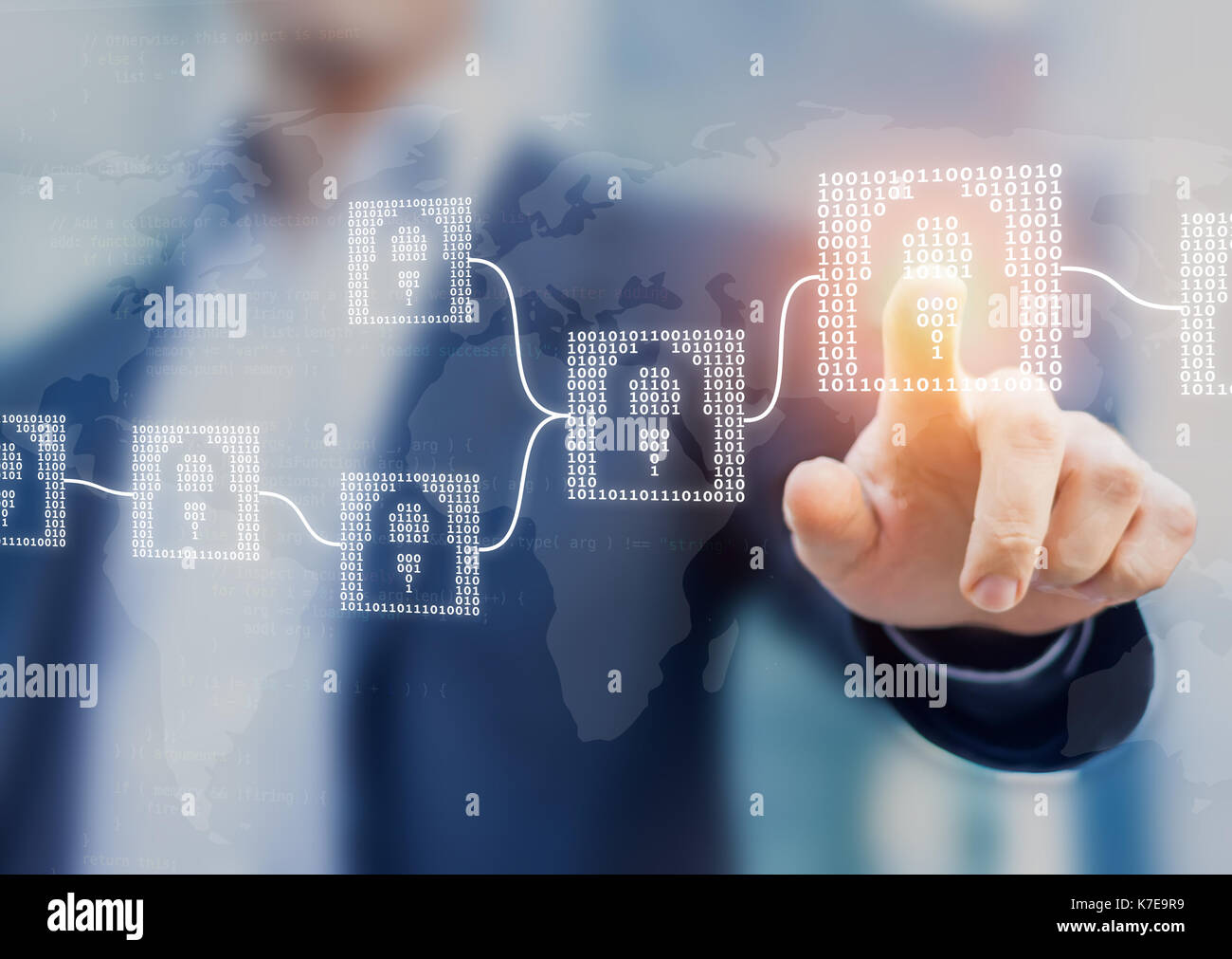 Blockchain cryptocurrency financial technology concept with binary code blocks linked and person touching interface, fintech - Stock Image