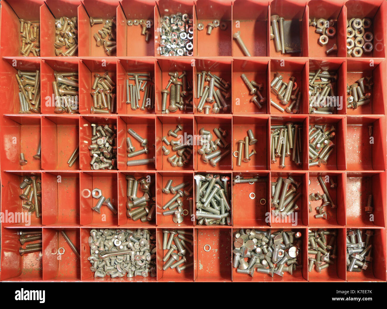 Tray of assorted bolts - Stock Image