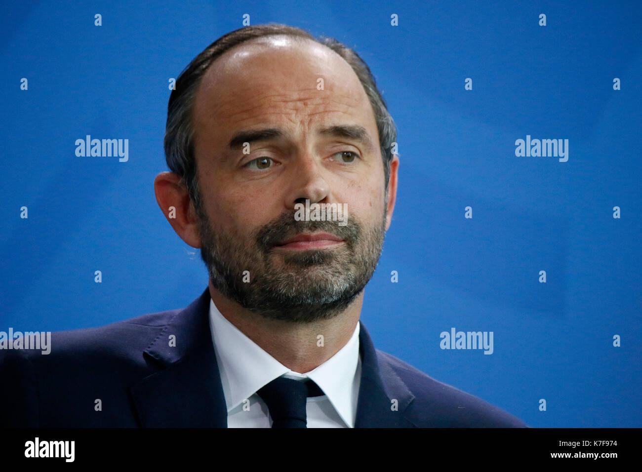 Edouard Philippe - Treffen der dt. Bundeskanzlerin mit dem franzoesischen Premierminister, Bundeskanzleramt, 15. September 2017, Berlin. - Stock Image