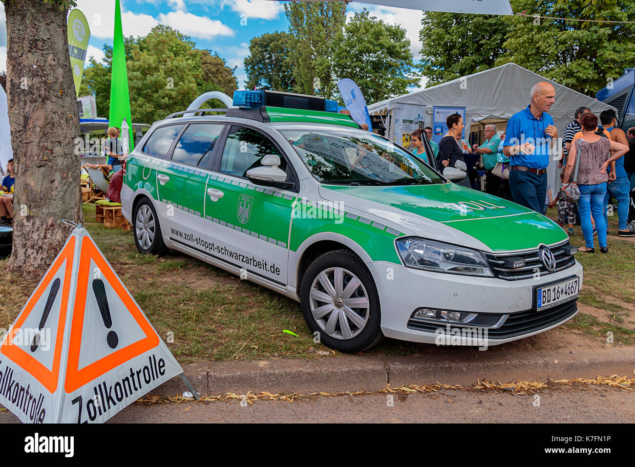 Zollkontrolle Customs Car In Saarbrucken, Germany - Stock Image
