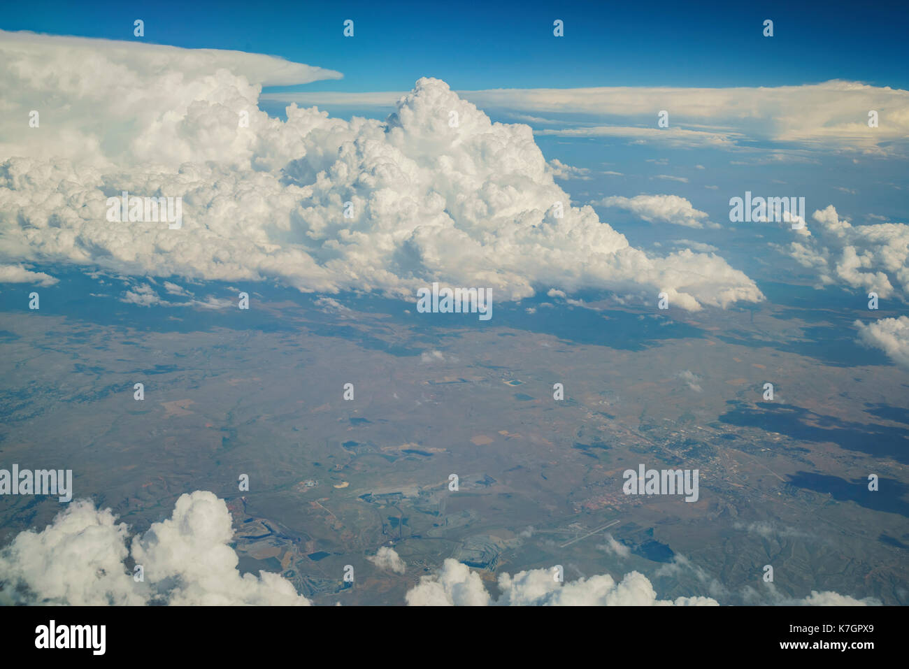 Aerial view of Gillette, view from window seat in an airplane at Wyoming, U.S.A. - Stock Image