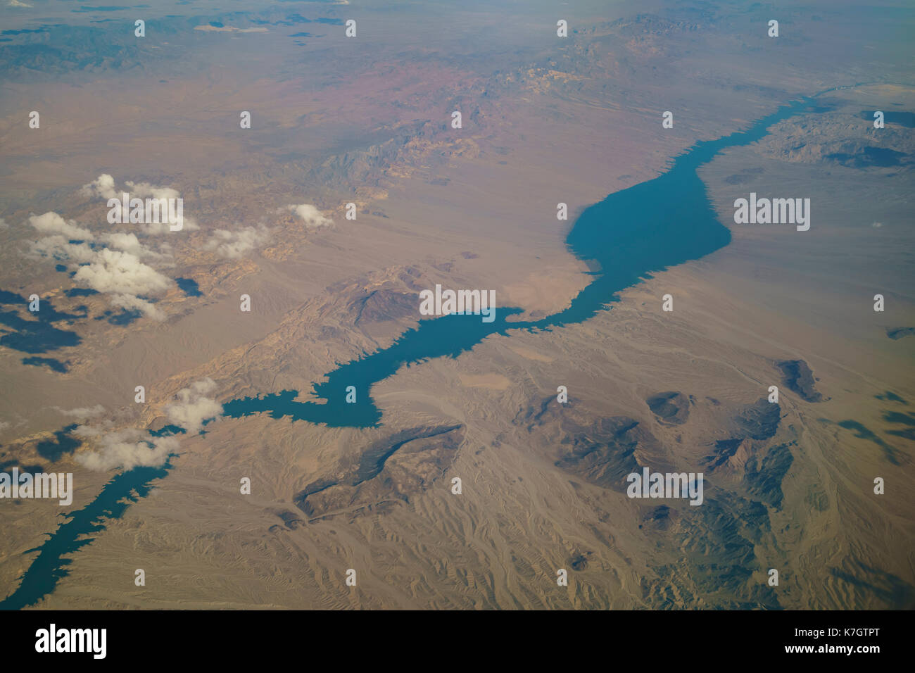 Aerial view of Lake Mead, view from window seat in an airplane at Nevada, U.S.A. Stock Photo