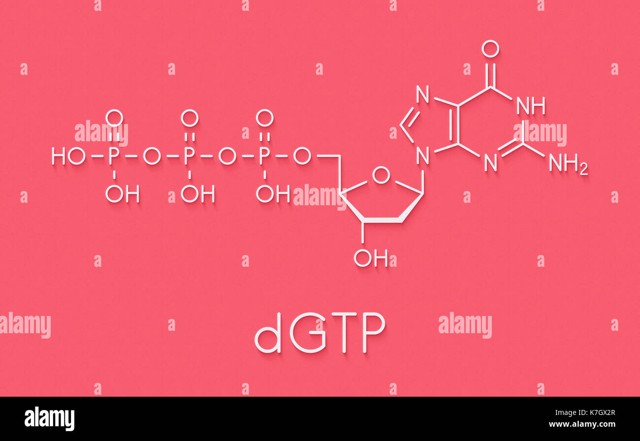 Deoxyguanosine triphosphate (dGTP) nucleotide molecule. DNA building block. Skeletal formula. Stock Photo