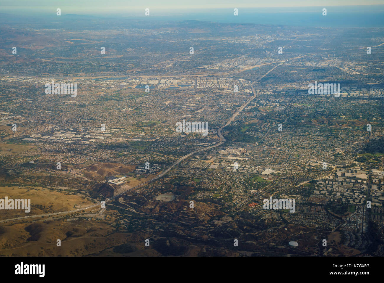 Aerial view of Brea and Fullerton, view from window seat in an airplane at California, U.S.A. - Stock Image