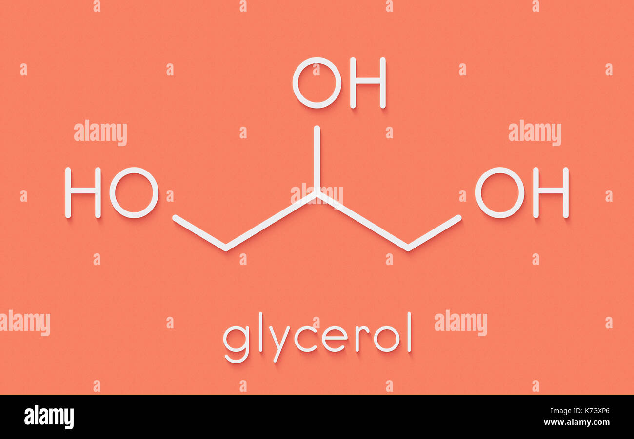 Glycerol (glycerin) molecule  Produced from fat and oil Stock Photo