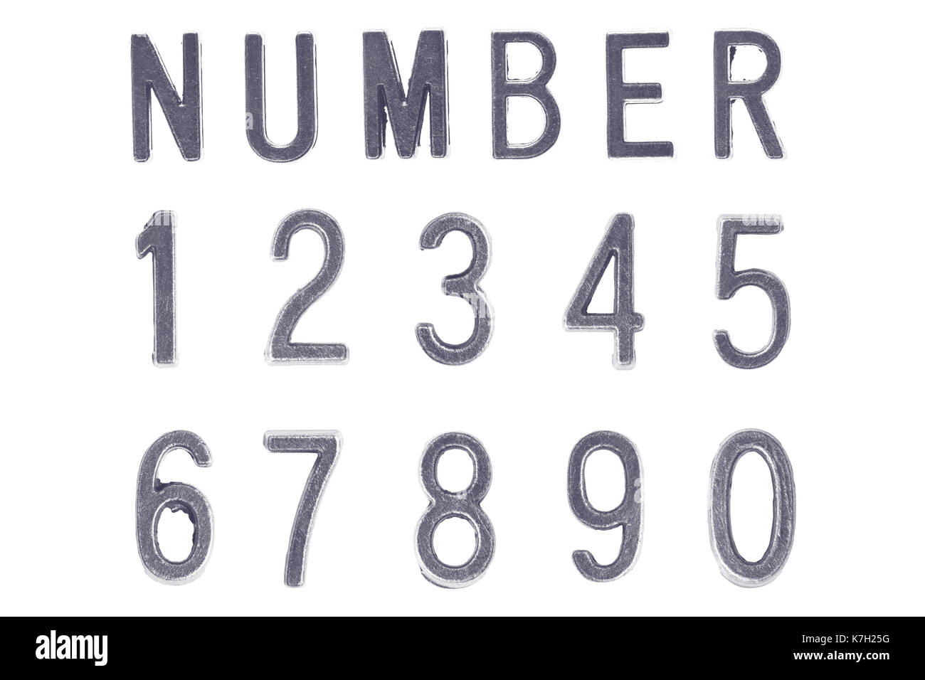 Silver Font Number 1 to 0, Retro style font face or Font type Stock