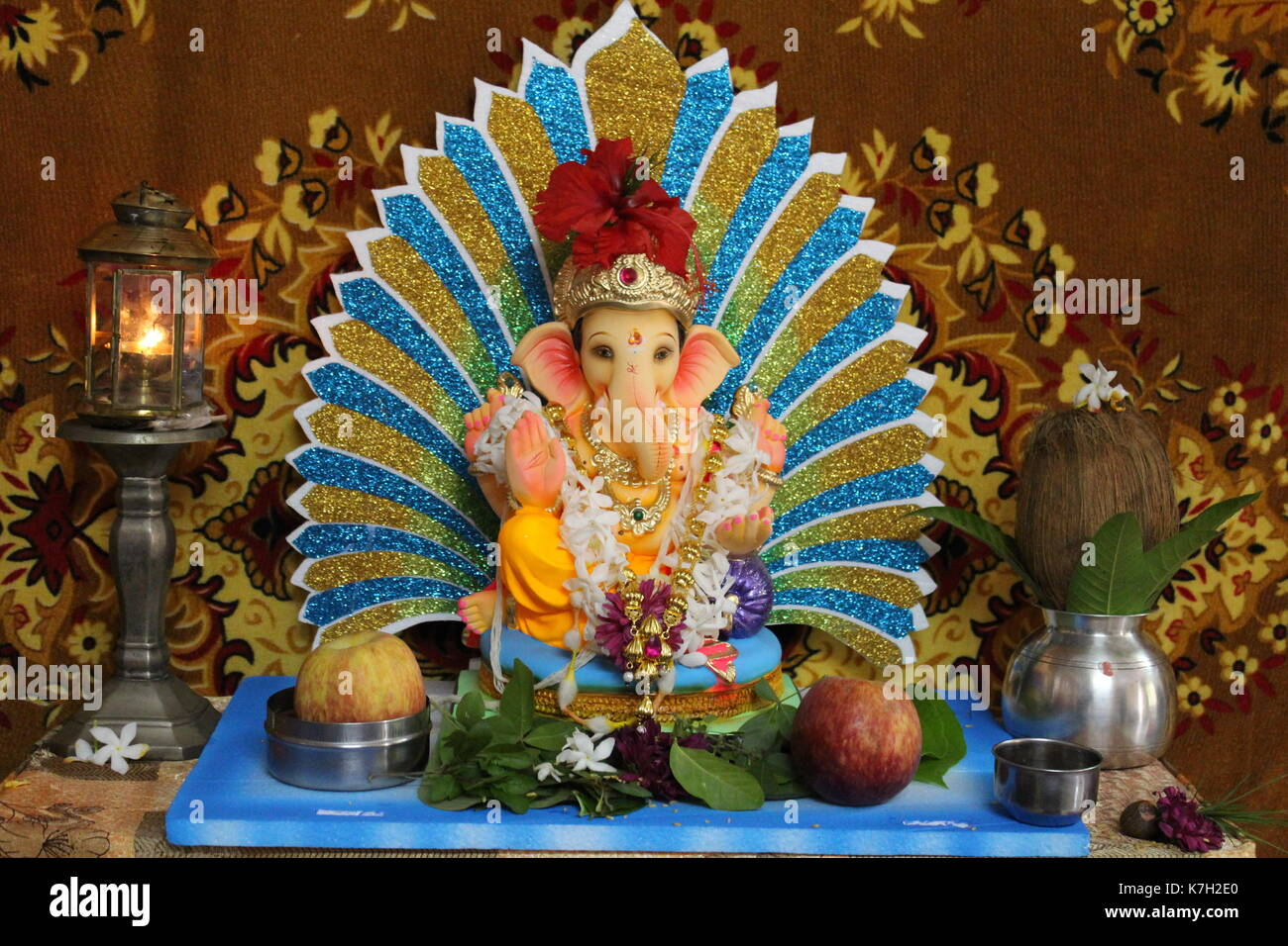 An Home Idol Of Lord Ganesha Along With The Decorations During 10 Days  Ganesh Festival Celebrated