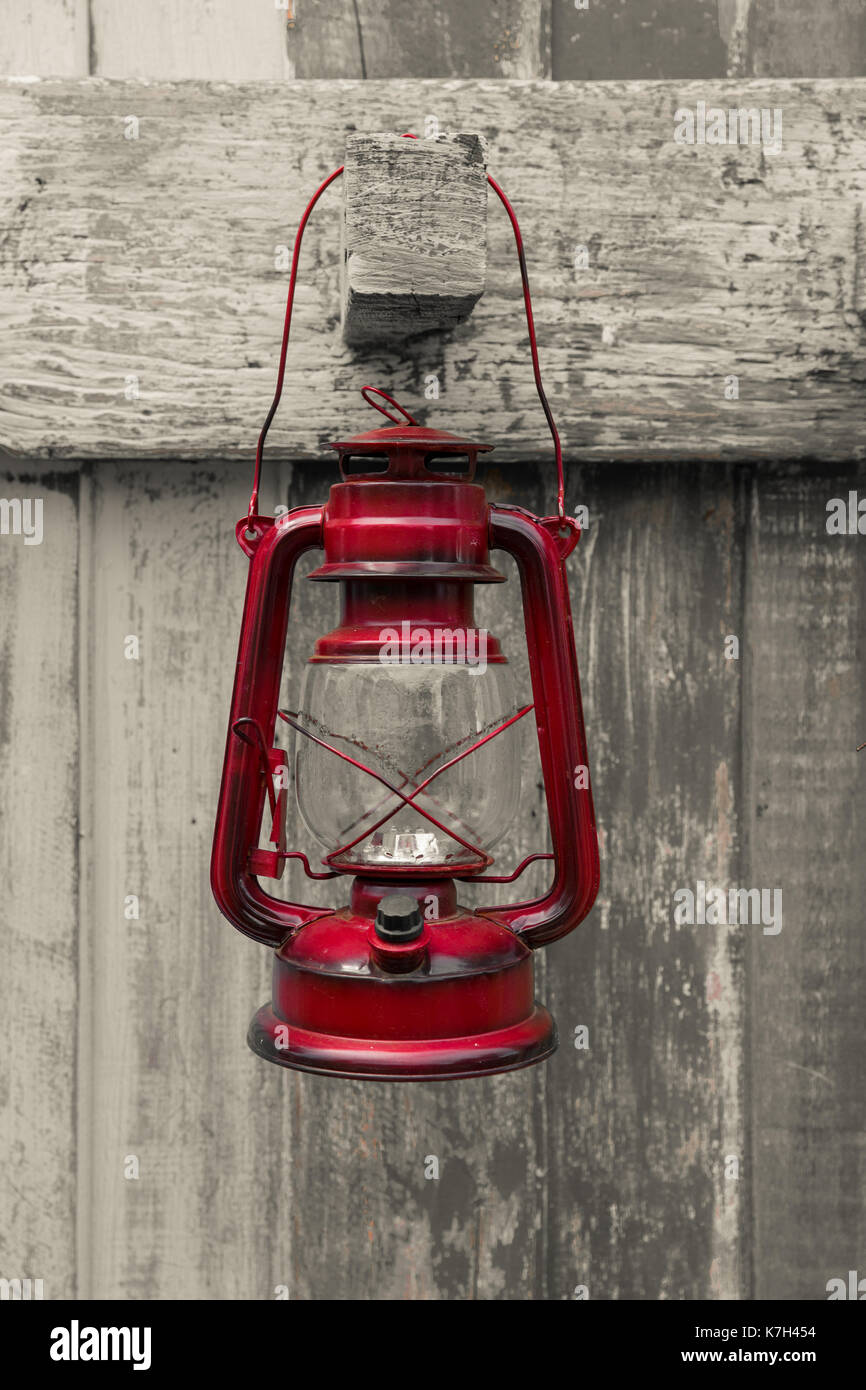 Western Style Oil Lantern Red Old Lamp Vintage Style Hang On Wood