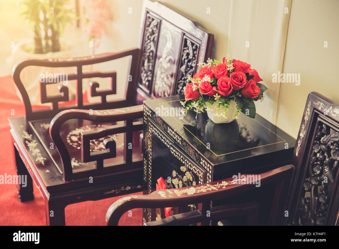 Chinese Style Interior furniture decoration. living room traditional Stock  Photo - Alamy