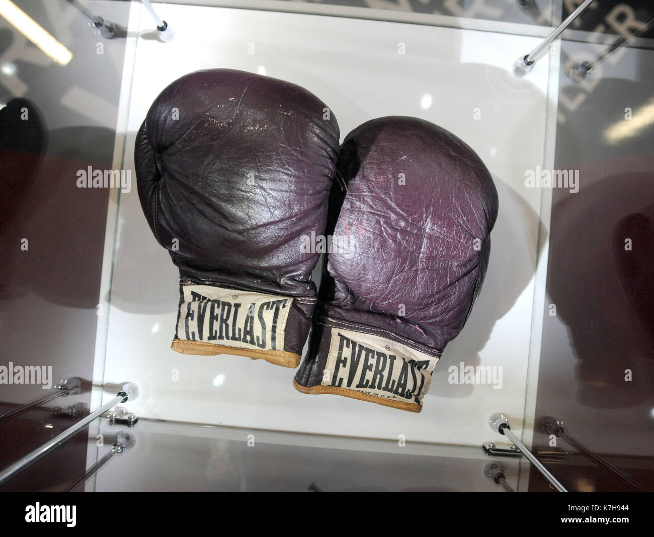 Photo Must Be Credited ©Kate Green/Alpha Press 079965 03/03/2016 Muhammad Ali's gloves used to fight Joe Frazier from the Fight of the Century at Madison Square Garden in 1971 at the I Am The Greatest: Muhammad Ali Exhibition Preview at The O2 in London. - Stock Image