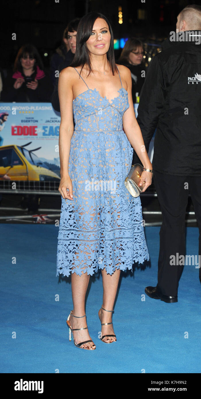 Photo Must Be Credited ©Kate Green/Alpha Press 079965 17/03/2016 Linzi Stoppard at the Eddie The Eagle European Film Premiere in Leicester Square, London - Stock Image