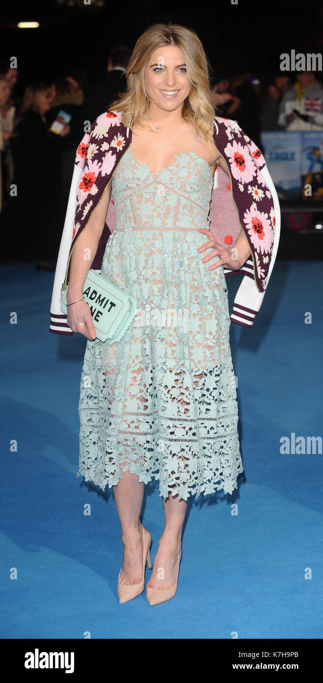 Photo Must Be Credited ©Kate Green/Alpha Press 079965 17/03/2016 Olivia Cox at the Eddie The Eagle European Film Premiere in Leicester Square, London - Stock Image