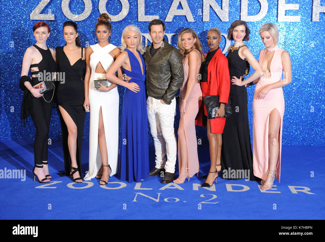 Photo Must Be Credited ©Kate Green/Alpha Press 079965 04/02/2016 Megan Brunell Alex Kelly Amreen Akhtar Bethan Sowerby Paul Sculfor Jenna McMahon Angel Cole Chloe Keenan Georgia Butler at the Zoolander 2 Movie Premiere at Empire Leicester Square, London. - Stock Image