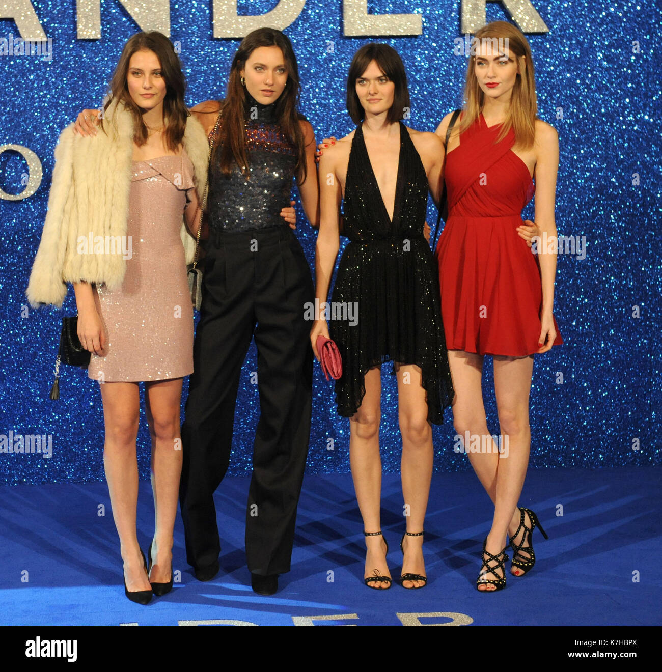 Photo Must Be Credited ©Kate Green/Alpha Press 079965 04/02/2016 Matilda Lowther Samantha Rollinson, Eve Delf and Charlotte Wiggins at the Zoolander 2 Movie Premiere at Empire Leicester Square, London. - Stock Image