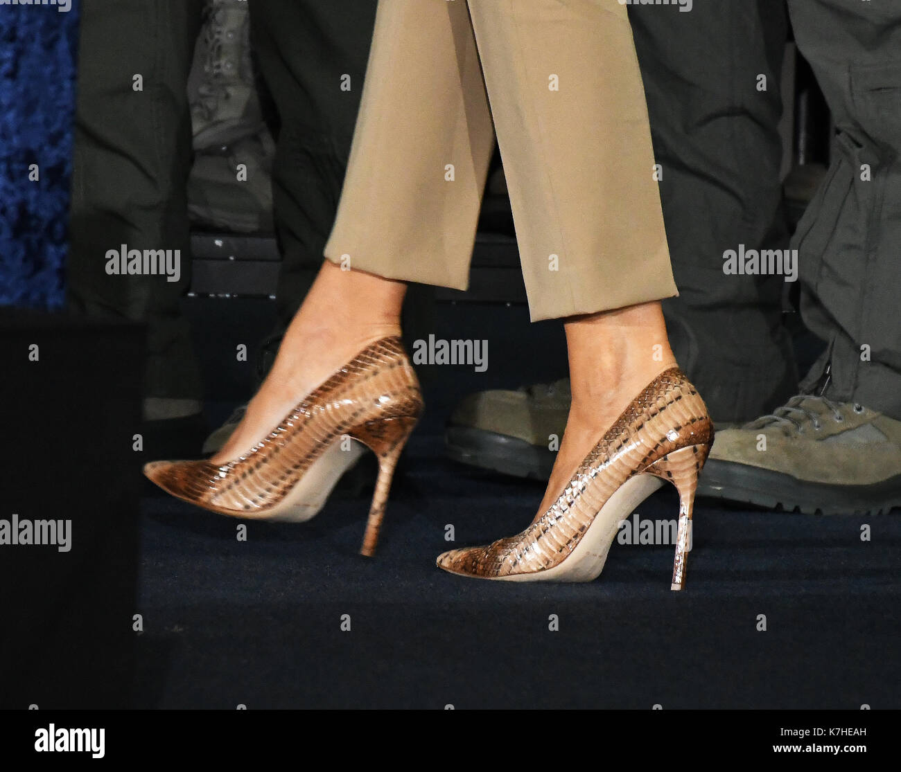 Close-up Of The Shoes Worn By First Lady Melania Trump As