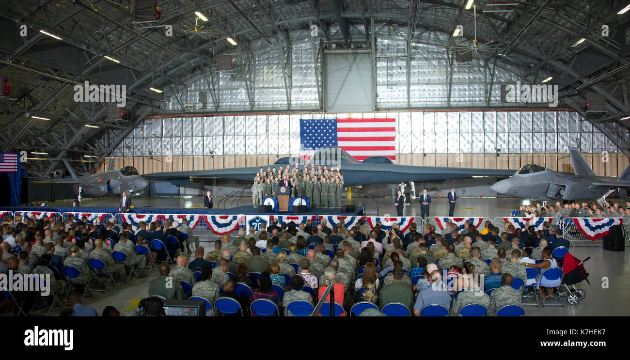 United States President Donald J. Trump delivers remarks to military personnel and families in a hanger at Joint Base Andrews in Maryland on Friday, September 15, 2017. He visited JBA to commemorate the 70th anniversary of the US Air Force. In the background behind the group, from left is a F-35 Joint Strike Fighter, a B-2 Stealth Bomber and a F-22 fighter. Credit: Ron Sachs/CNP · NO WIRE SERVICE · Photo: Ron Sachs/Consolidated/dpa - Stock Image