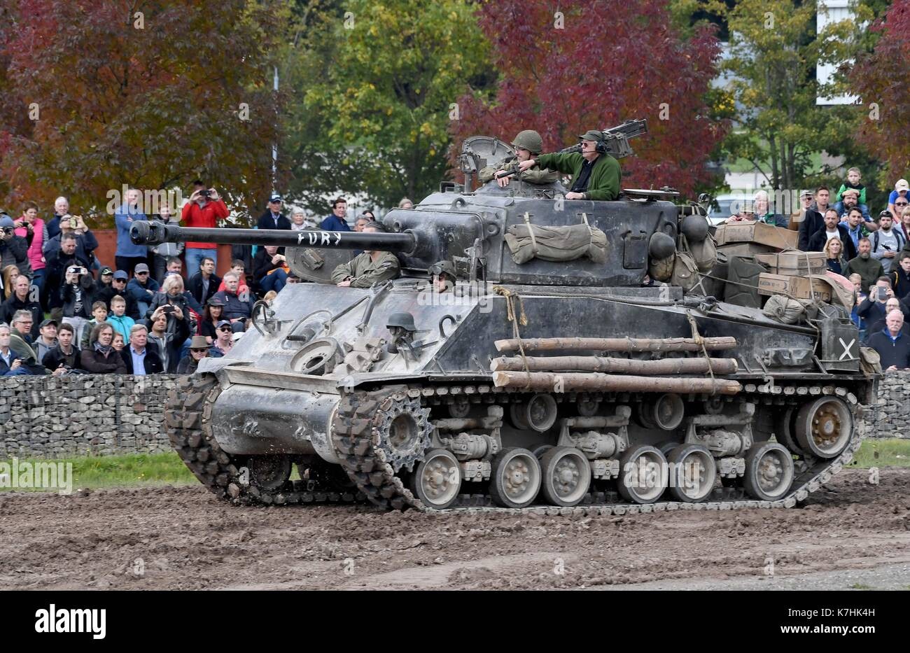 Demonstration at Bovington Tank Museum of the M4 Sherman from the film Fury - Stock Image
