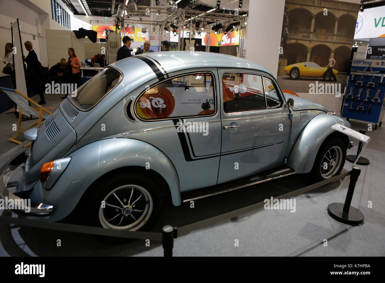 "Frankfurt, Germany. 15th September 2017. A 1972 Volkswagen Kammer Weltmeister Käfer (Beetle) is presented in the special exhibition ""The Wild 70s"". The 67. Internationale Automobil-Ausstellung (IAA in Frankfurt is with over 1000 exhibitors one of the largest Motor Shows in the world. The show will open for the general public from the 16th until the 24th September. - Stock Image"