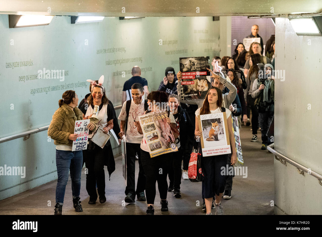 London 16th September 2017, Anti fur protesters picket the Gareth Pugh LFW17 presentation at the BFI IMAZ protesters left the event and went to Waterloo station to picket another event Credit: Ian Davidson/Alamy Live News - Stock Image