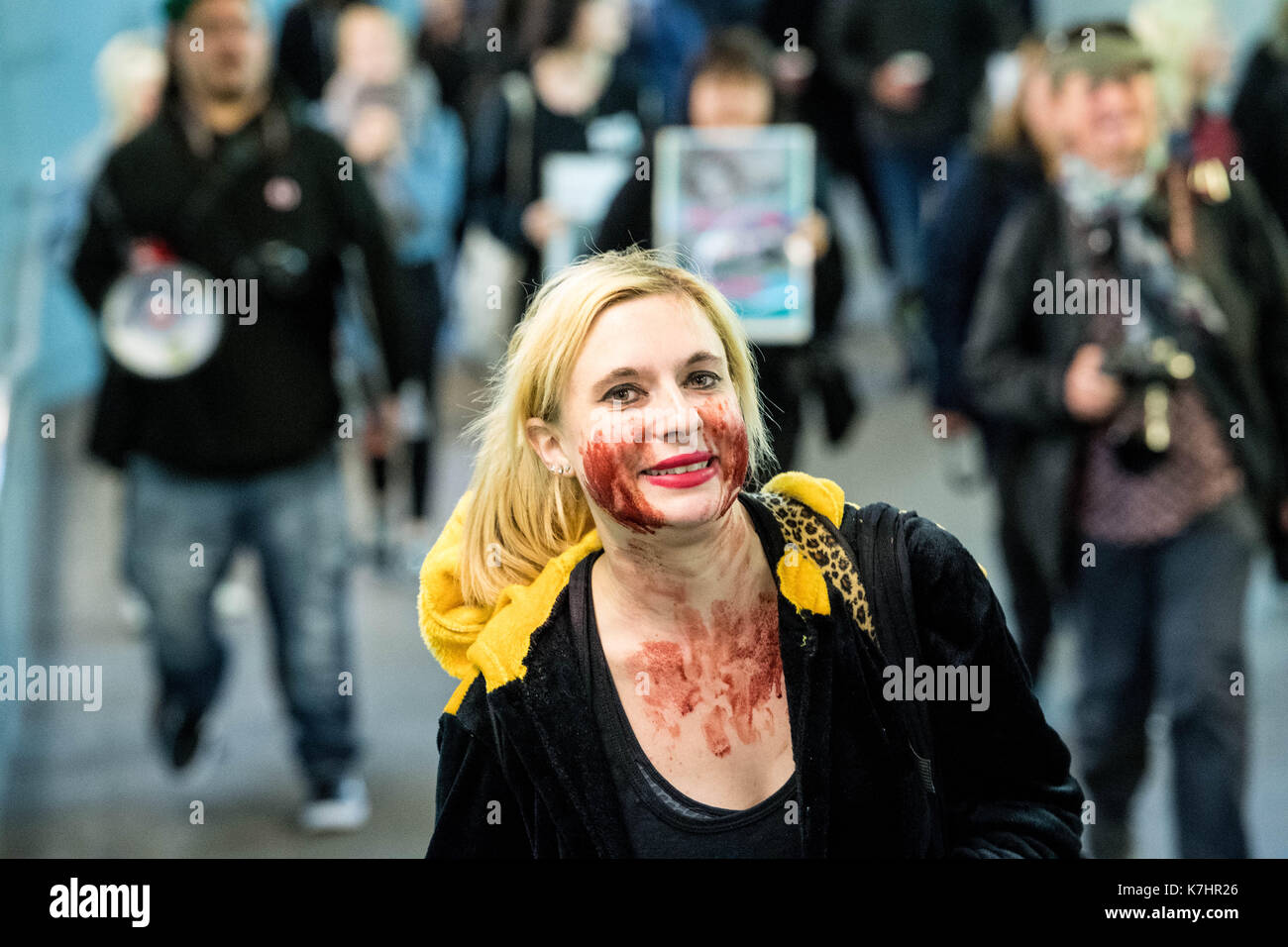 London 16th September 2017, Anti fur protesters picket the Gareth Pugh LFW17 presentation at the BFI IMAX protesters left the event and went to Waterloo station to picket another event Credit: Ian Davidson/Alamy Live News - Stock Image