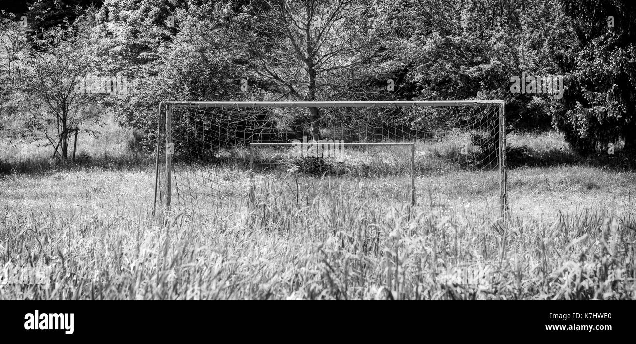 Soccer Goals in the Countryside - Stock Image