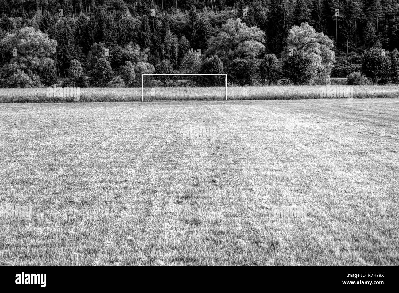 Soccer goal in the Countryside , Springtime - Stock Image
