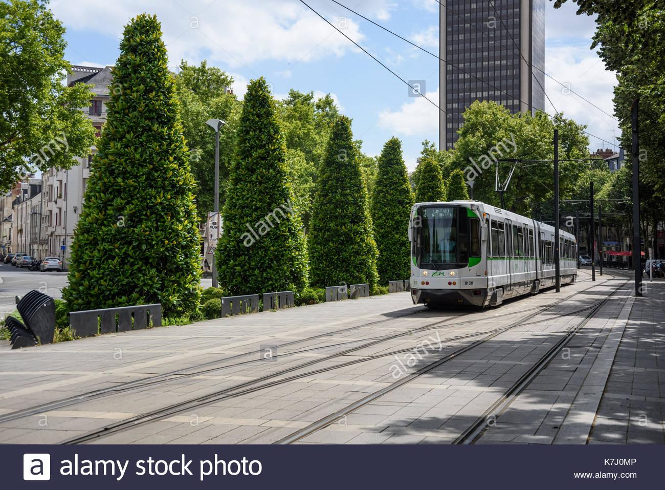 Nantes Strassenbahn Linie 2 Allee Des Tanneurs Tramway Line 2