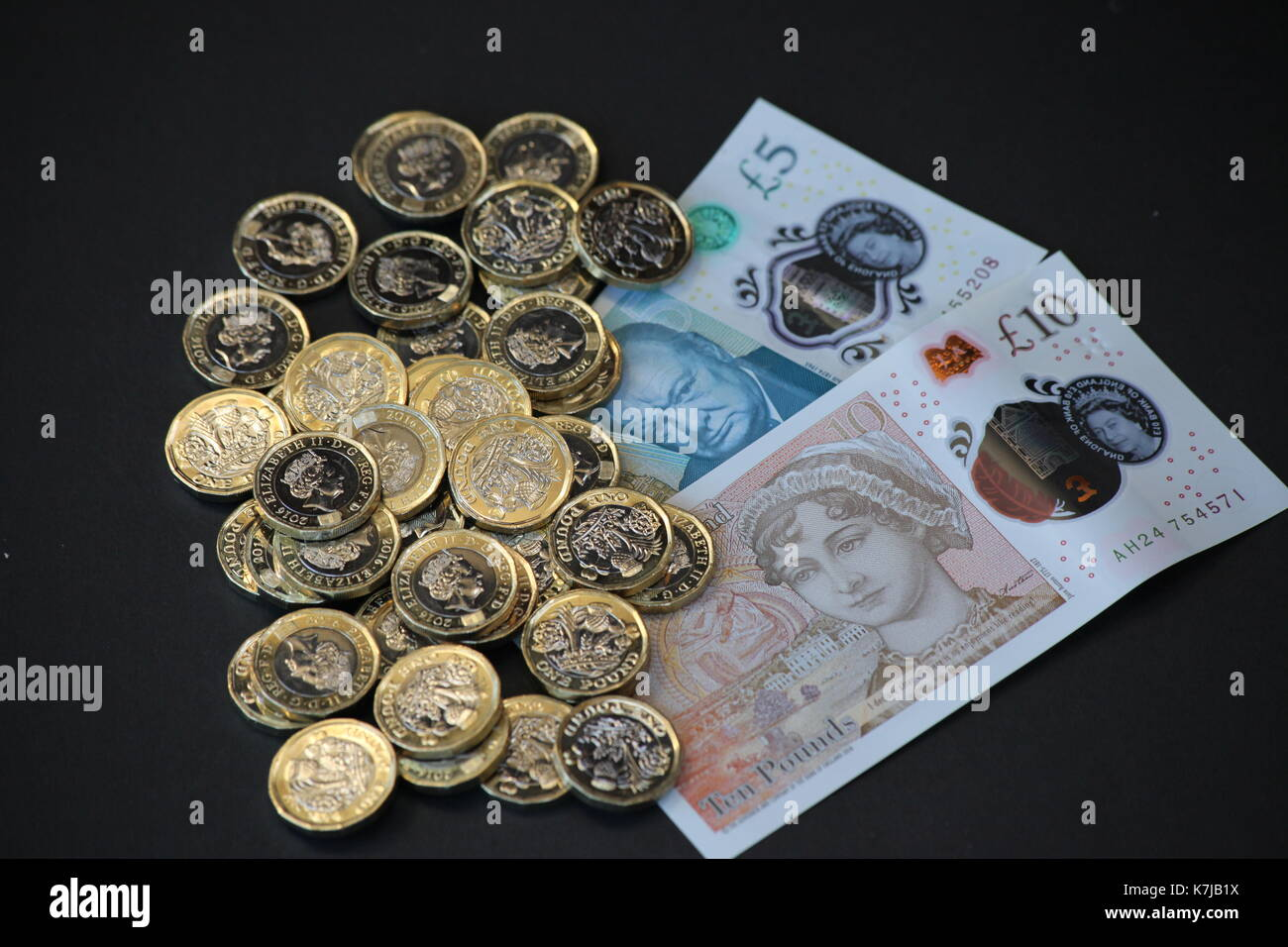 New 2017 Notes and Coins - Stock Image