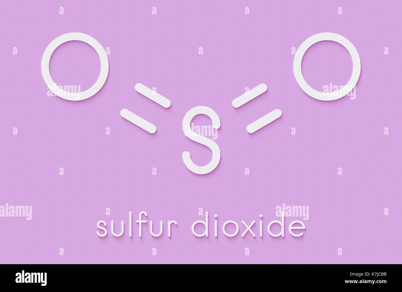 Sulfur dioxide food preservative molecule (E220). Also used in winemaking and responsible for sulfites in wine. Skeletal formula. - Stock Image