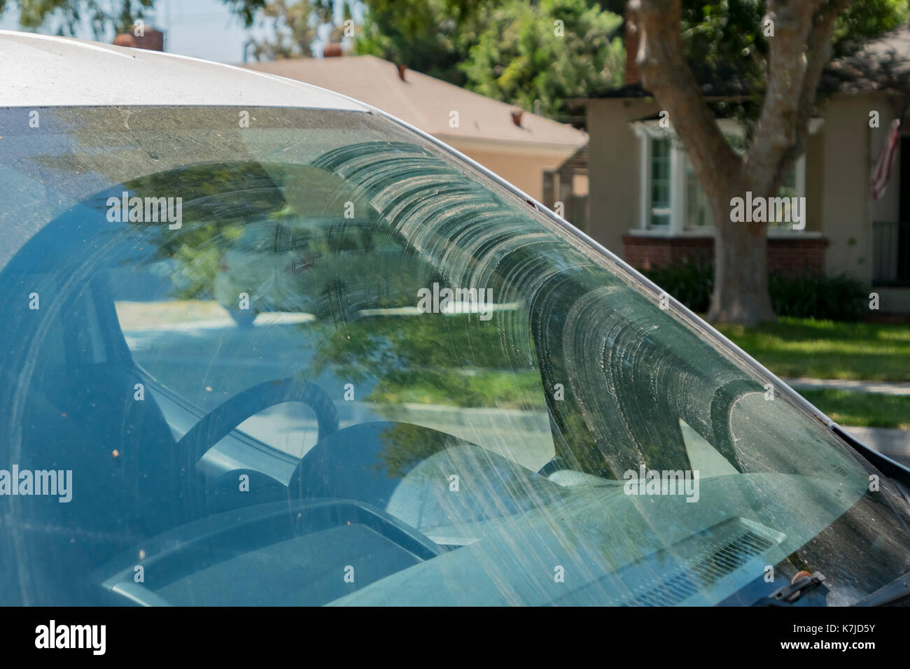 Dirty windshield with mud, saw at Temple City, California, U.S.A. - Stock Image