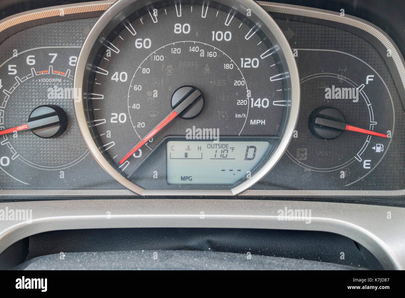 Extreme hot as shown on the dashboard, Los Angeles, California, U.S.A. - Stock Image
