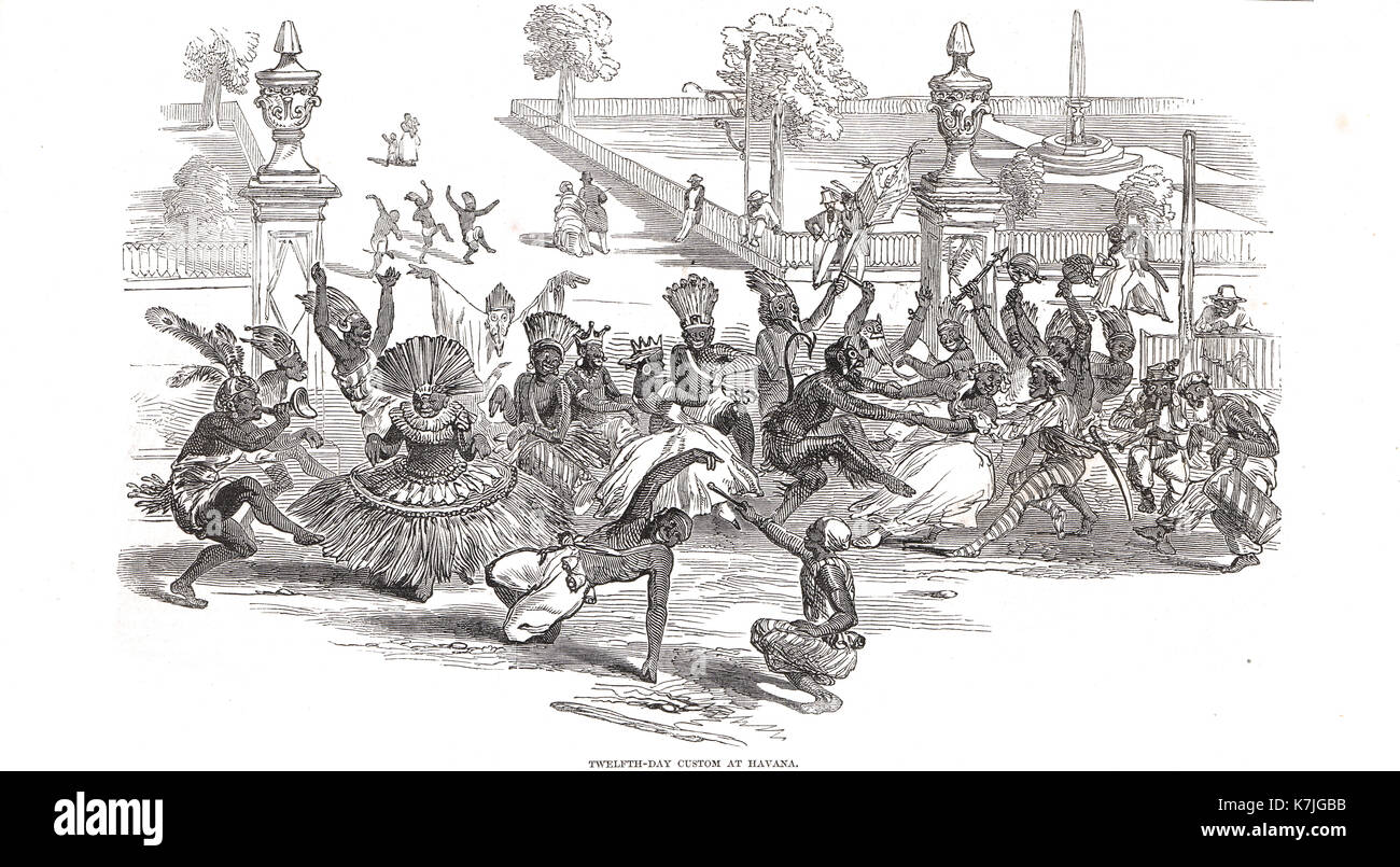 12th day custom (Day of Kings) in Havana, Cuba, 1847 - Stock Image
