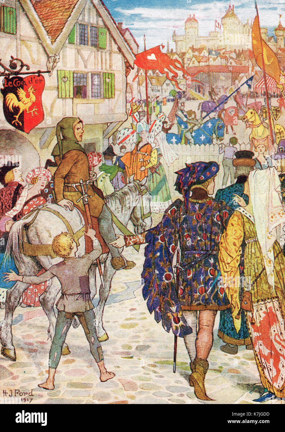 Bertrand rides into Rennes for the tournament, 1337 - Stock Image
