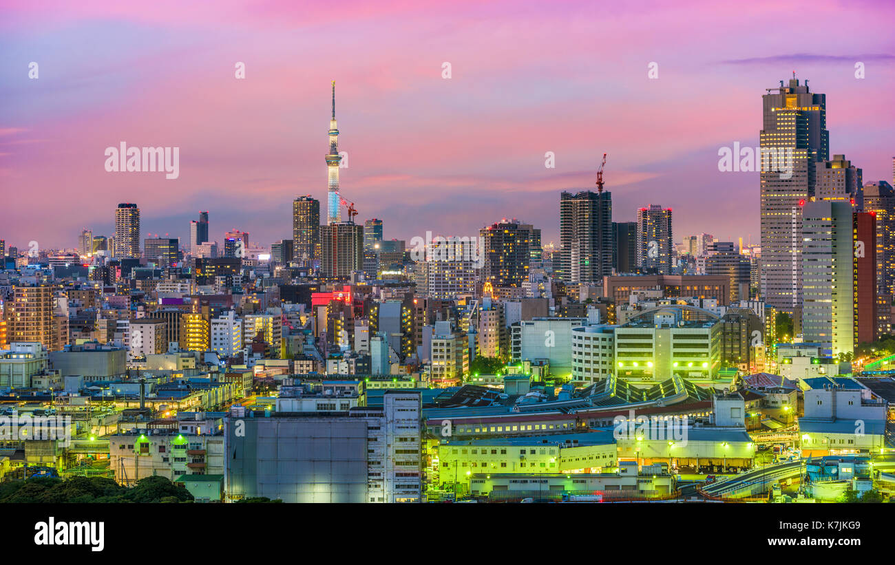 Tokyo, Japan cityscape from over Tsukiji. - Stock Image
