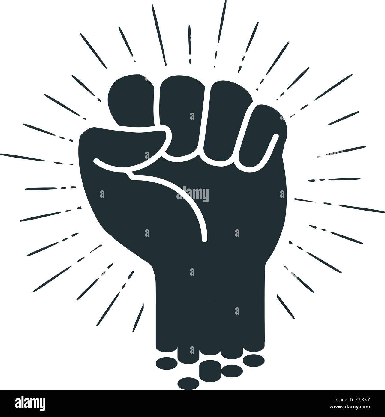 Male clenched fist, logo or label. Power, force, strength icon. Vector illustration - Stock Vector