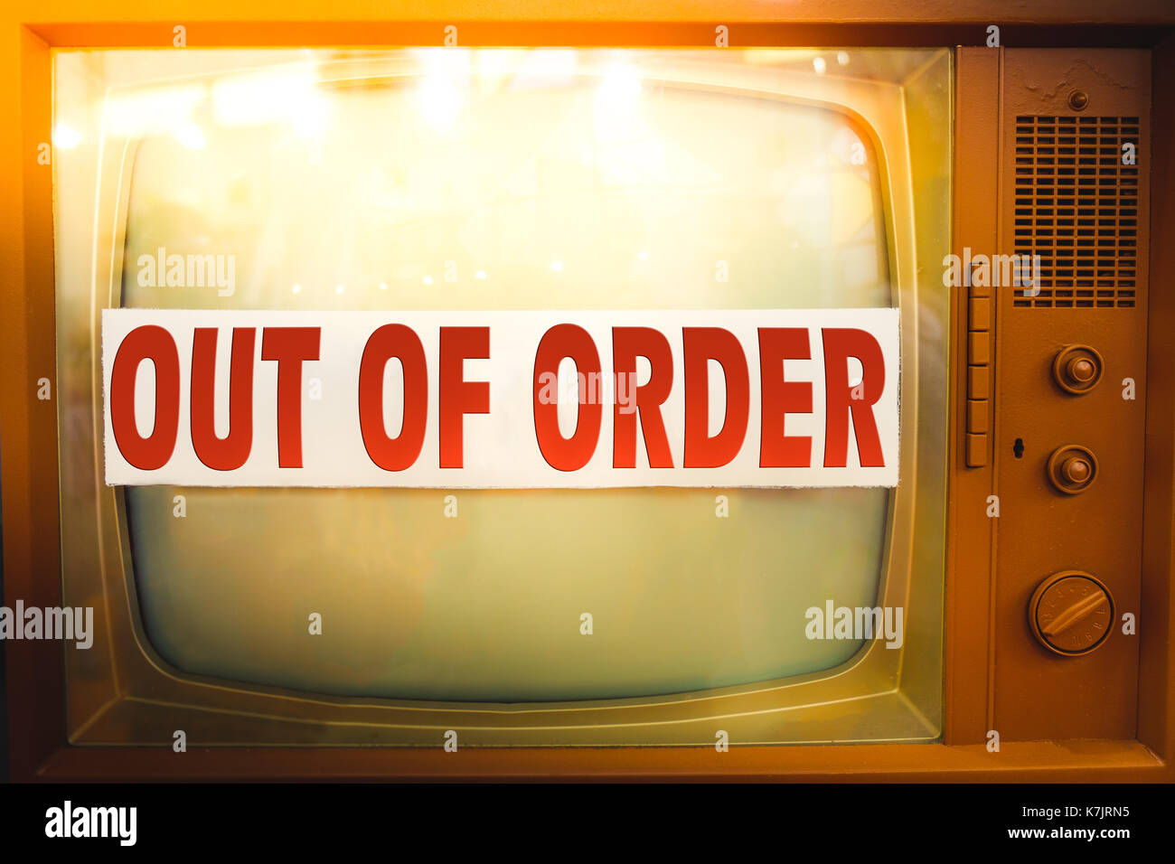 out of order television maintenance old tv label vintage obsolete device - Stock Image